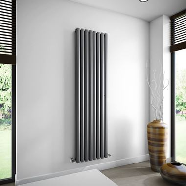 Brenton Oval Double Panel Vertical Radiator - Anthracite - 1800 x 480mm